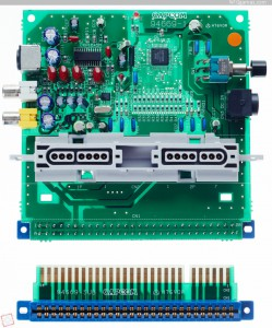 The CPS Changer PCB.  Note the SNES controller panel.  Below is the 90-degree riser board.